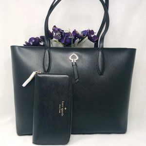 Kate spade adel tote & large wallet black leather